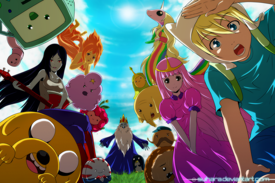 Tags Adventure Time Anime Style Beulenwelt Prinzessin BMO By Suihara Eiskonig Finn Jake Flame Princess Gunther Ice King Link Marceline Peppermint Butler