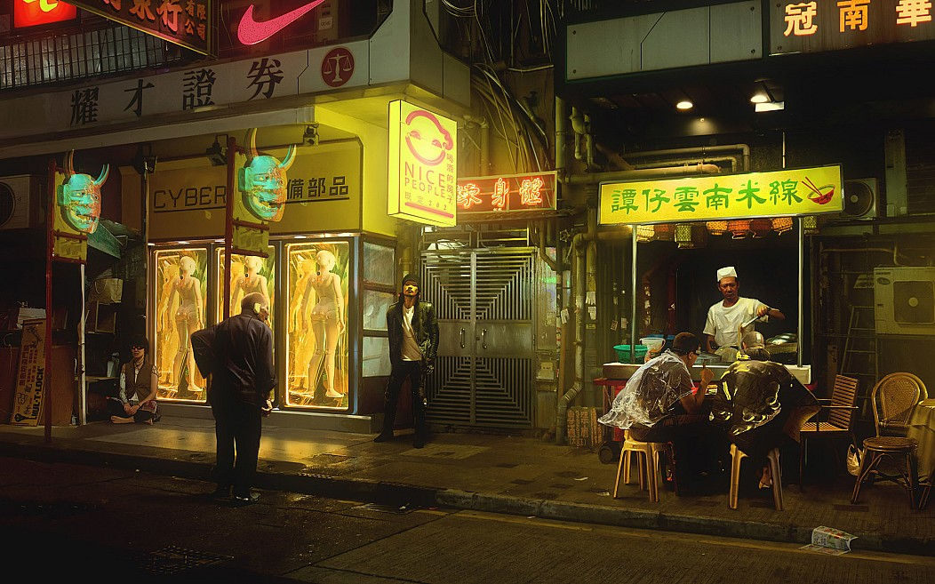 art by Maciej Kuciara Concept Art Cyber Cyberpunk Cyborg Durchfallrestaurant Ghost in the Shell hong kong Japan Kunst Nacht Neo Tokyo Nice People Nike Oni Ramen Noodles Regel 5 Seltenheim Straße ẞ im Restaurantnamen