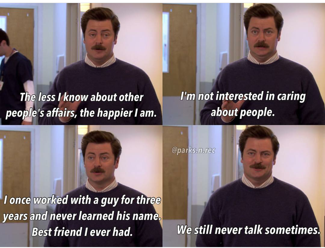 Einer von uns hat verstanden Parks and Recreation recht hat er repost Ron Swanson sfw