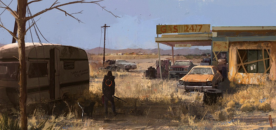 24/7 3.43 Apokalypse art Auto by Ismail Inceoglu fallout Gas get out Hund Kreis Kunst Wohnwagen