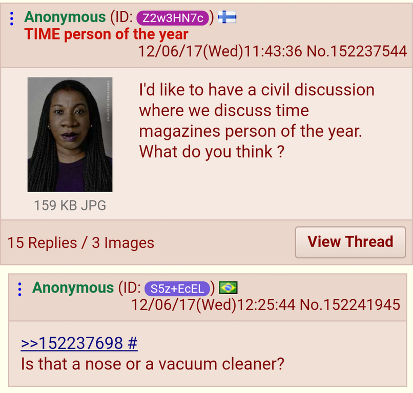 152237544 4chan 555 nase 555 Staubsauger ape of the year civil discussion halb Mensch halb Nase halb Mensch halb Staubsauger Nase oder Staubsauger? nose person of the year screenshot SSIO Time vacuum cleaner