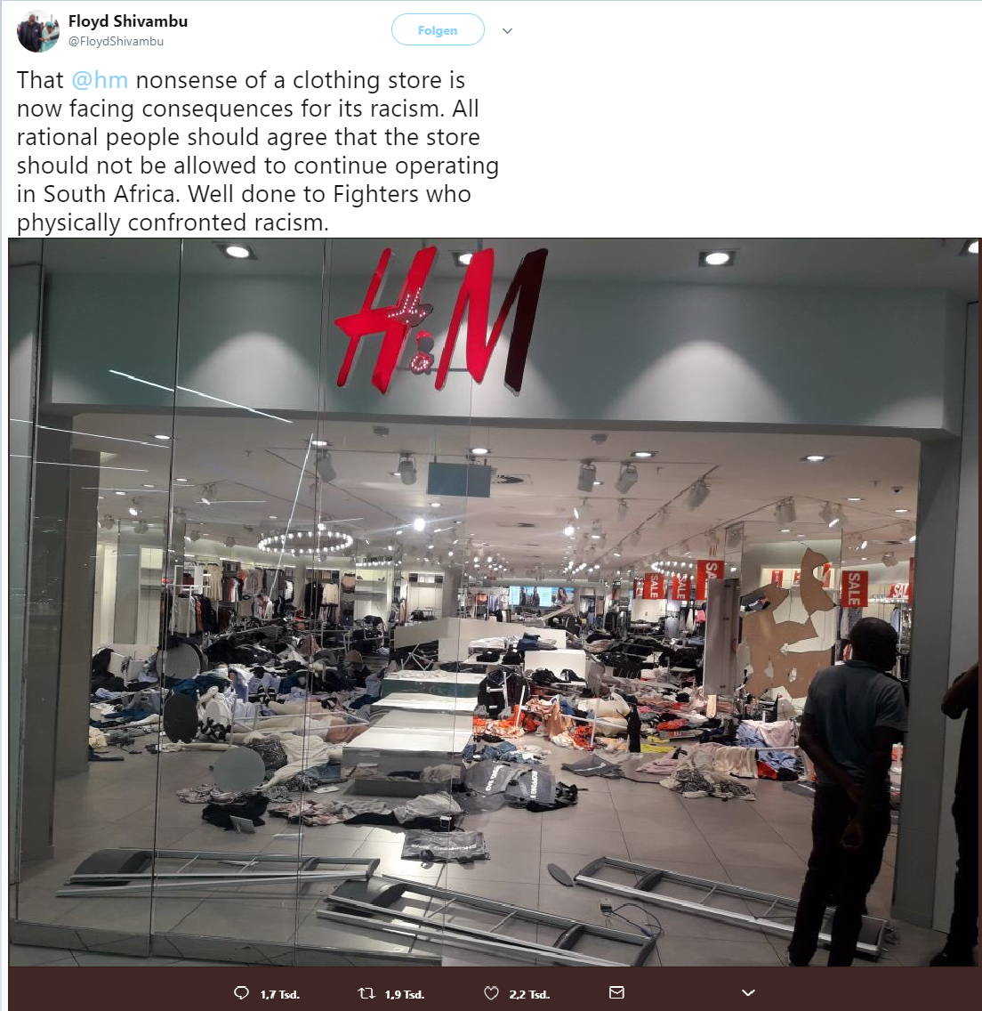 Abschaum Affen machen Affensachen Biomüll coolest monkey in the jungle H&M H&N>H&M haben verstanden It's okay to be white looten looten und nicht Leveln Monkeys came out of the jungle Neger Neger machen Negersachen physically confronted racism rational people rumble in the jungle SALE Shithole uncool monkeys Untermenschen well done