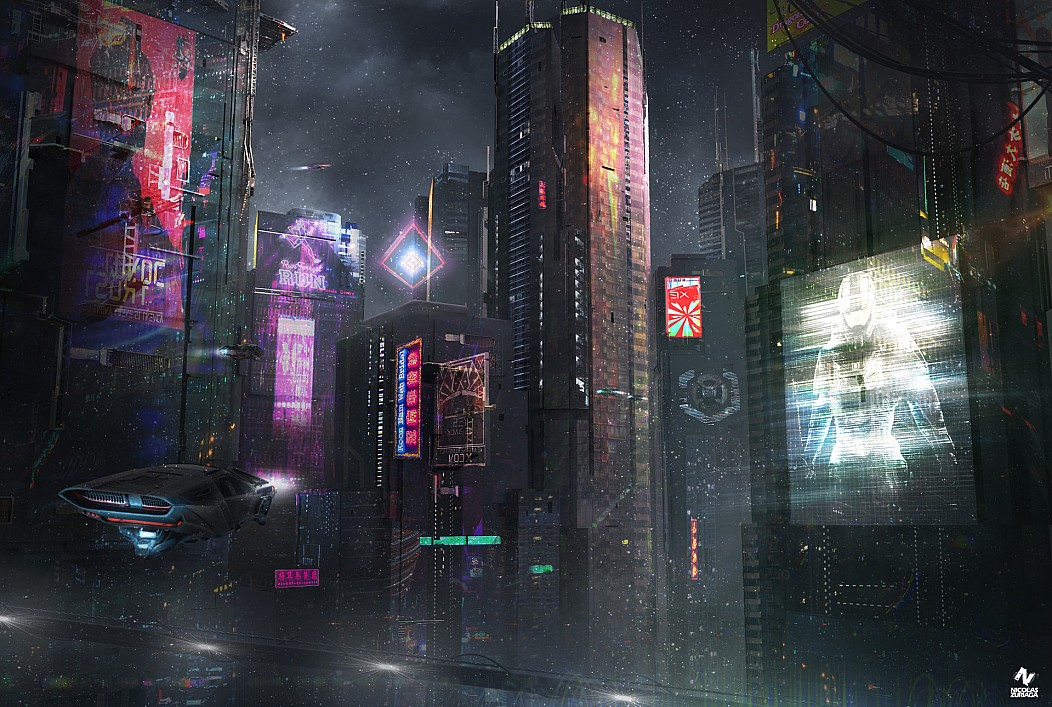 altered carbon Art Artwork Blade Runner by Nicolas Zuriaga Cyberpunk Flugtaxi Hochhäuser Kunst Master Chief Nacht Ready Player One